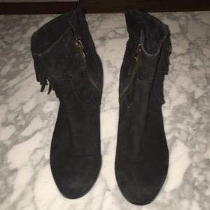Sam Edelman Black Booties with side fringe